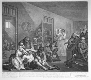 "The County Asylums Act of 1808 permitted Justices of the Peace (JPs) to construct asylums using local taxes. This recognized the mentally ill as such and not merely as lunatics. It also recognized that these illnesses were treatable. The Interior of Bedlam - from ""A Rakes Progress "" by William Hogarth, 1763"
