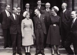 Photograph taken on the occasion of the visit of the Rt.Hon. Enoch Powell, Minister of Health, 23rd September 1963. Ashworth back row, far left.