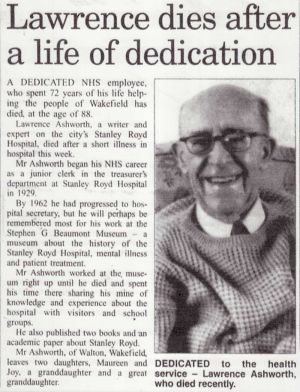 Dedicated to the health service - the death of Lawrence Ashworth