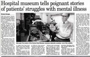 Hospital Museum tells Poignant Stories Of Patients Struggles With Mental Illness, Mr Lawrence Ashworth