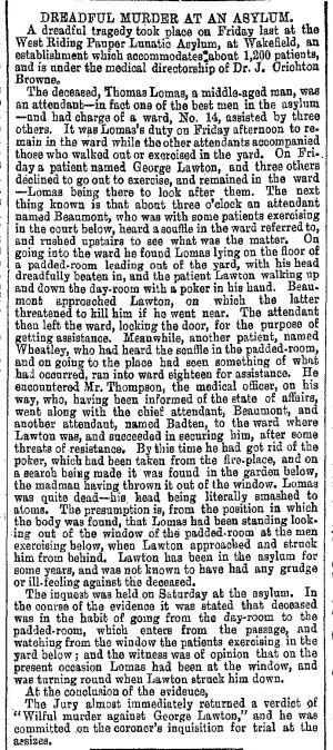 Asylum Murder, March 1871