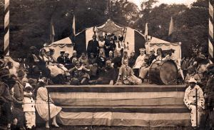 Another picture about which it is possible to make no more than an inspired guess as to its identity. It was obviously taken at the same time as the other picture in the collection, and is no doubt composed mostly of patients. Germans, soldiers, sailors, miners, cooks, are all portrayed, as well as comic characters, in what is almost certainly the asylum's Armistice Celebrations in 1918
