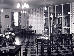 Dining Room From North East Corner, Showing The Lounge. Just To The Left Of The Picture Is The Entrance To A Corridor Combining A Modern Kitchen And Sisters And Doctors Room. The View Has Been Taken From A Service Hatch Between The Kitchen And The Dining Room 1960's