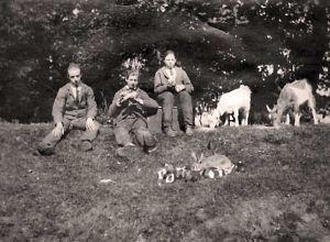 Photograph of a group of patients in the grounds of Stanley Hall, at that time used as a Mental Deficiency Colony. There was a school for the patients, and they were encouraged to take part in farming activities, keeping their own pets. The name of the patient in the centre was Arthur Yates. Dr. Bolton took a great interest in him, encouraging him to rear poultry in the hospital on a commercial scale. Arthur, a strong hardworking lad, made a success of the venture, and eventually when a vacancy occurred in the transport dept., became a full time employee, married a nurse and bought a nice house in Outwood. Unfortunately he developed leukaemia and died at an early age.