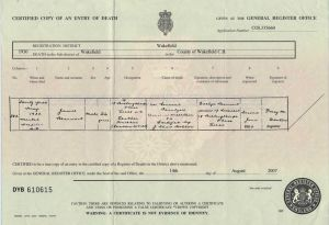 James Beaumont Death Certificate, May, 1930