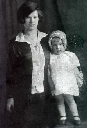 Evelyn Beaumont the Widow of James with his young daughter
