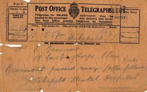 The telegram Evelyn recieved to inform her that her Husband had died at the Hospital