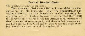 Death at Wadsley 18th September 1915